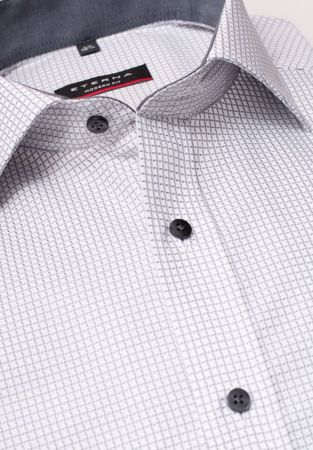 ETERNA-LONG SLEEVE SHIRT MODERN FIT TEXTURED WEAVE GREY CHECKED