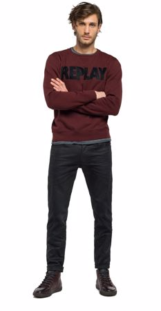 REPLAY - COTTON SWEATSHIRT WITH PATCHES - BURGUNDY