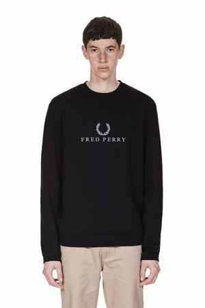 FRED PERRY-FRED PERRY LOGO TENNIS SWEATSHIRT-102-BLACK