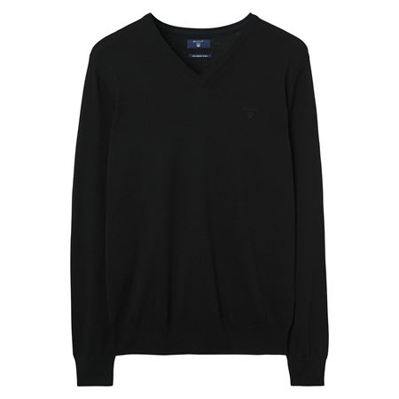 GANT-FINE MERINO V-NECK SWEATER-BLACK