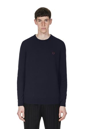 FRED PERRY-CLASSIC CREW NECK JUMPER-395-DARK-CARBON