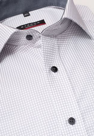 Picture of ETERNA-LONG SLEEVE SHIRT MODERN FIT TEXTURED WEAVE GREY CHECKED