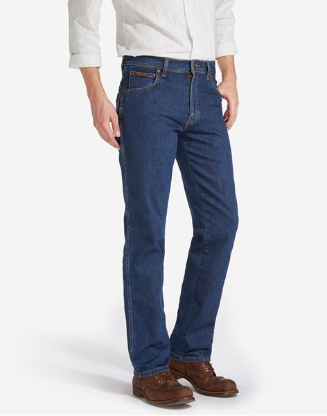 WRANGLER-TEXAS STRETCH JEANS-DARKSTONE