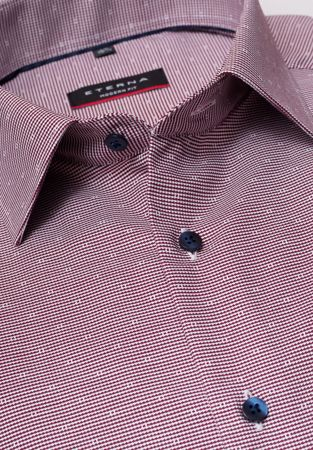 ETERNA-LONG SLEEVE SHIRT MODERN FIT NATTÉ RED CHECKED