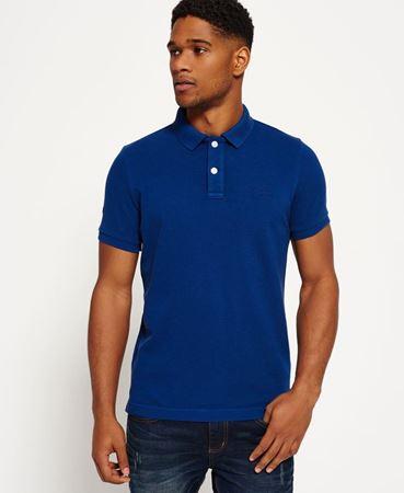 Superdry - Vintage Destroyed poloskjorte i piké - dark indigo