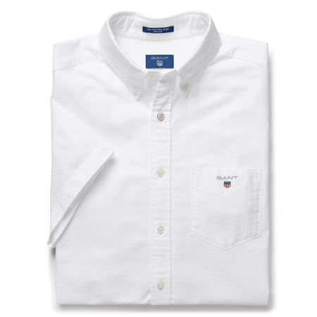 Picture of GANT-THE SHORT SLEEVED OXFORD SHIRT-WHITE