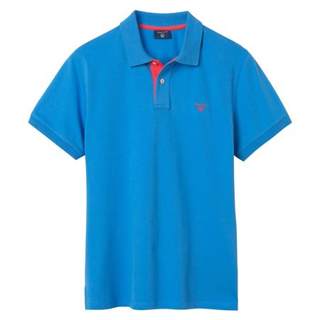Picture of GANT-CONTRAST COLLAR POLO SHIRT-PACIFIC-BLUE