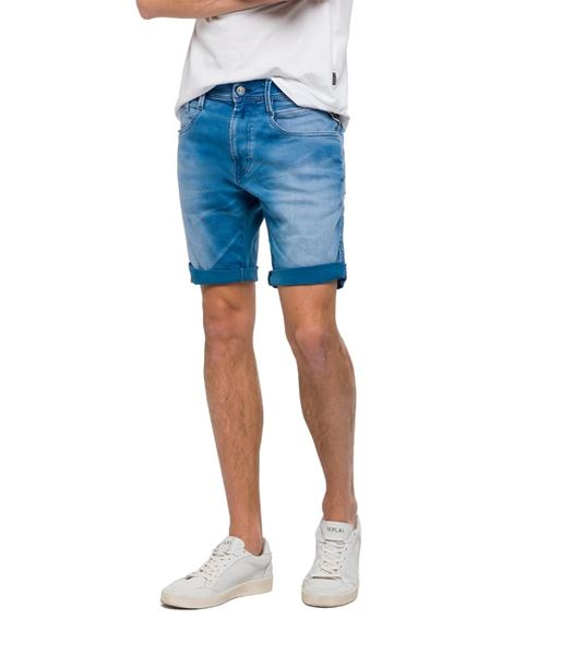 REPLAY-HYPERFLEX ANBASS SLIM-FIT BERMUDA SHORTS-MEDIUMLIGHTDENIM