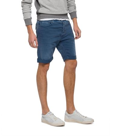 REPLAY-RBJ 901 TAPERED-FIT BERMUDA SHORTS-STONEBLUE