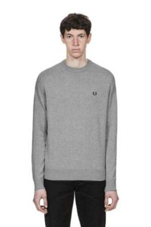 FRED PERRY-CLASSIC COTTON CREW NECK JUMPER-STEEL-MARL