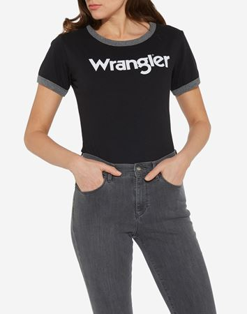 WRANGLER-RETRO KABEL TEE-BLACK