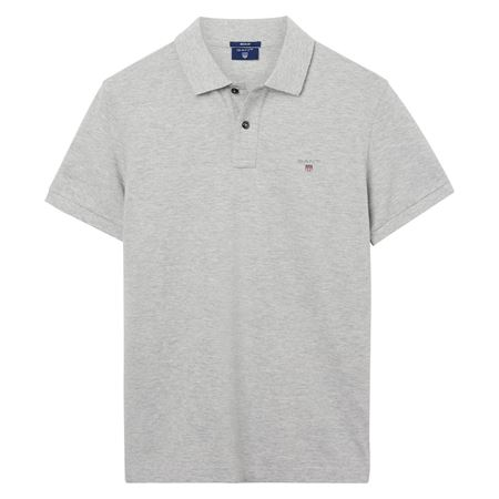 GANT-SHORT-SLEEVED PIQUÉ POLO--LIGHT-GREY-MELANGE
