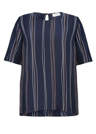 MODSTRØM-GRAZIE PRINT TOP-NAVY-ORGANIC-STRIPES