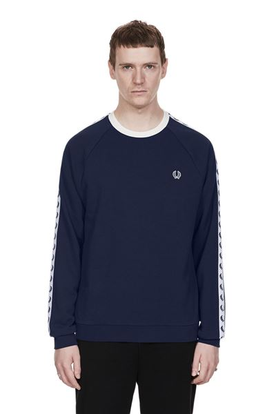 FRED PERRY-SPORTS AUTHENTIC TAPED CREW NECK SWEATSHIRT-CARBON-BLUE