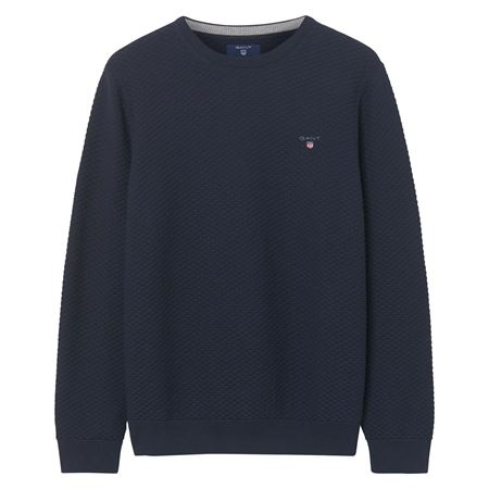 GANT-TRIANGLE TEXTURE CREW SWEATER-EVENING-BLUE