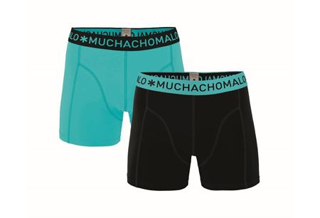 MUCHACHOMALO-1010 BOXER SOLID 2PK 215-BLACK/AQUA-MEDIUM