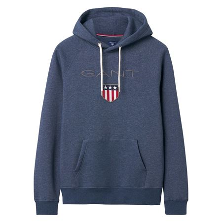 GANT-ORIGINAL SHIELD SWEAT HOODIE-DARK-JEANSBLUE-MELANGE