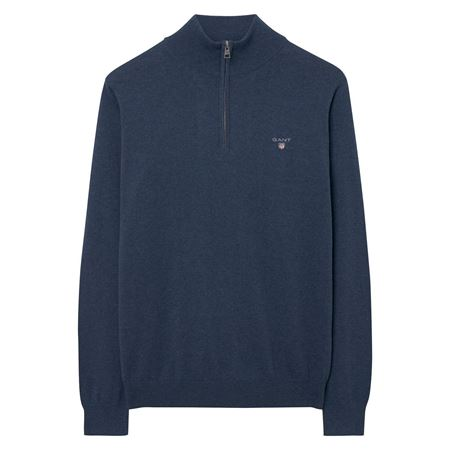 GANT-COTTON WOOL HALF-ZIP-DARK-JEANSBLUE-MELANGE