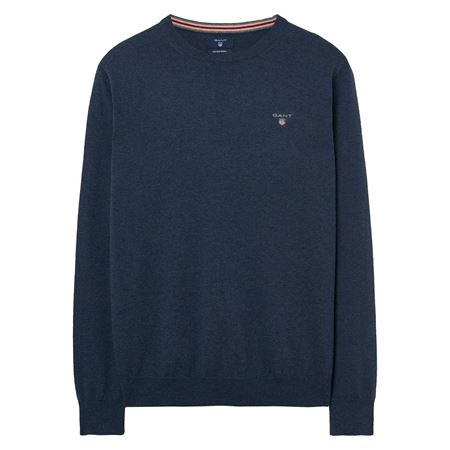 GANT-COTTON WOOL CREW SWEATER-DARK-JEANSBLUE-MELANGE