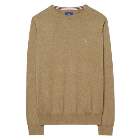 GANT-COTTON WOOL CREW SWEATER-DK.-SAND-MELANGE