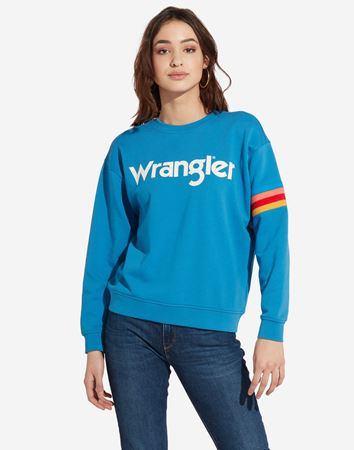 WRANGLER-LOGO SWEAT-DEEP-WATER