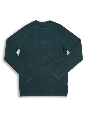 GABBA-HARRY V2 O-NECK KNIT-EMERALD-NIGHT-MEL