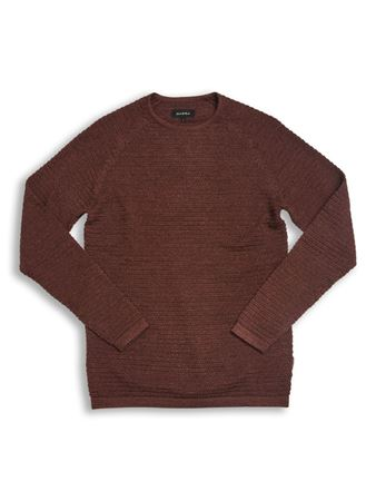 GABBA-HARRY V2 O-NECK KNIT-BRICK-RED-MEL