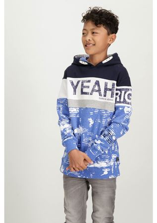 GARCIA-BLUE HOODIE WITH A CHEST PRINT-BLUE