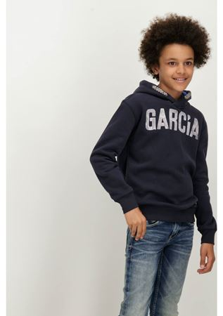 GARCIA-BLUE HOODIE WITH A TEXT PRINT-BLUE
