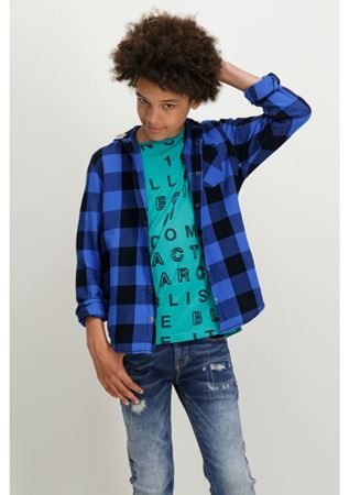 GARCIA-BLUE CHECKED SHIRT WITH A HOODIE-BLUE