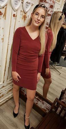 Picture of KAFFE-LUISA INDIA LS DRESS-ZINFANDEL