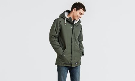LEVI'S-THERMORE PADDED PARKA COAT-OLIVE-NIGHT