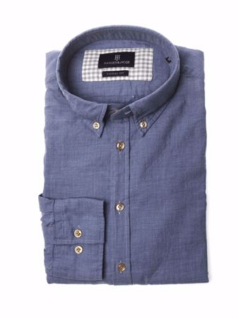 HANSEN&JACOB-SHIRT, SOLID MEL SUPERFLANEL-MID-BLUE