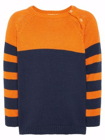 NAME IT-MINI CHUNKY STRIKKET PULLOVER-BLÅ/DARK-SAPPHIRE