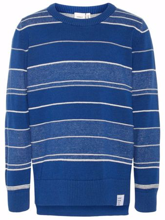 NAME IT-KIDS STRIPETE FINSTRIKKET PULLOVER-NAVY-PEONY
