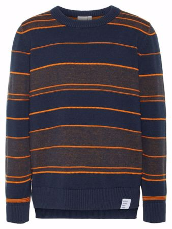 NAME IT-KIDS STRIPETE FINSTRIKKET PULLOVER-DARK-SAPPHIRE