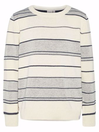 NAME IT-KIDS STRIPETE FINSTRIKKET PULLOVER-WHITE-ASPARAGUS