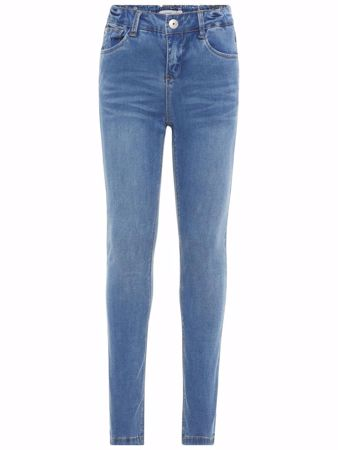 NAME IT-KIDS SLIM FIT SUPER STRETCH HIGH WAIST JEANS-BLÅ/MEDIUM-BLUE-DENIM