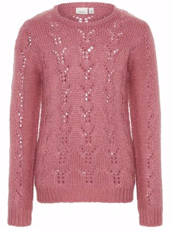 NAME IT-KIDS STRIKKET PULLOVER-ROSA/HEATHER-ROSE