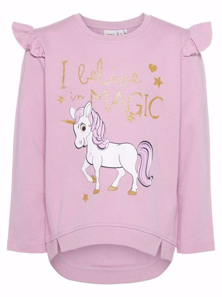 NAME IT-MINI GLITTERPRINTET RYSJE SWEATSHIRT-MAUVE-MIST