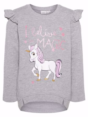 NAME IT-MINI GLITTERPRINTET RYSJE SWEATSHIRT-GREY-MELANGE