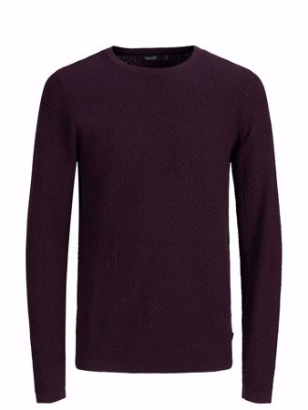 JACK&JONES-SLIM FIT KNITTED PULLOVER-WINETASTING
