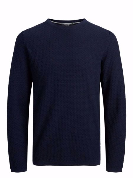 JACK&JONES-SLIM FIT KNITTED PULLOVER-MARITIME-BLUE