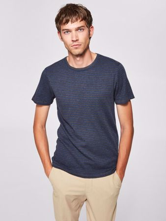 SELECTED HOMME-STRIPETE - T-SKJORTE-DARK-GREY-MELANGE