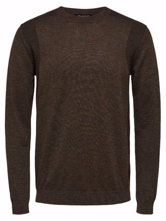 SELECTED HOMME-KLASSISK - STRIKKET PULLOVER-DEMITASSE