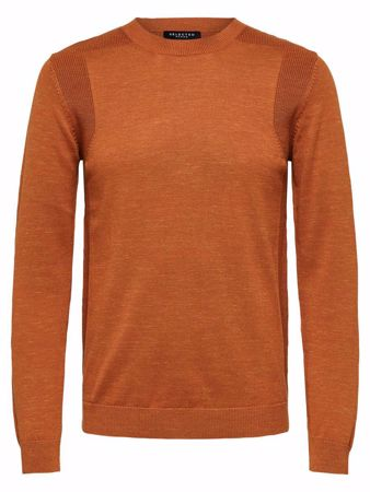 SELECTED HOMME-KLASSISK - STRIKKET PULLOVER-GLAZED-GINGER