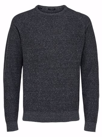 SELECTED HOMME-KLASSISK - STRIKKET PULLOVER-ANTHRACITE