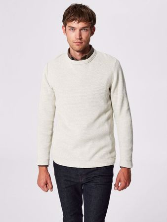 SELECTED HOMME-CLASSIC - KNITTED PULLOVER-LIGHT-GREY-MELANGE