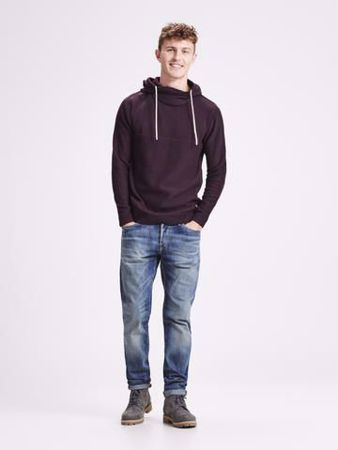 JACK&JONES-JORERIS KNIT HOOD STS-PORT ROYALE