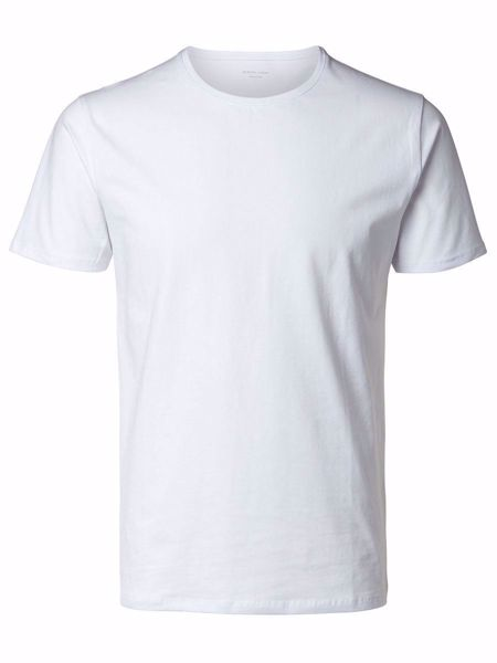 SELECTED - PIMA O-NECK T-SHIRT-WHITE